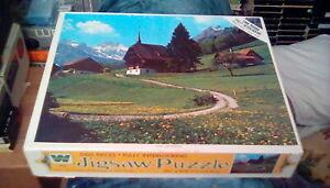 "RARE 1960s Whitman Jigsaw Puzzle Chalet Switzerland 21"" x 27"" (1000 pc) mountain"