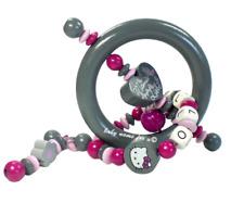Greiifring mit Namen Hello Kitty Holz Motorik Mädchen grau pink personalisiert