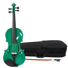New Acoustic Violin 1/2 Size Green + Case+ Bow + Rosin for Kids 9-10 Years Old