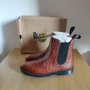Dr Martens Kensington Flora Croc Skin Brown Chelsea Boot Size UK 6.5