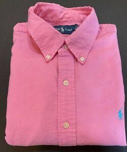 Ralph Lauren Button Front Shirt Men's Large 100% Cotton Pink
