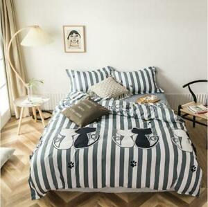 3D Striped Black And White Cat KEP8044 Bed Pillowcases Quilt Duvet Cover Kay