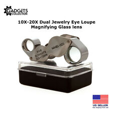 10X 20X DUAL Jewelers Jewelry Eye Loupe Optical Magnifying Reading Glass Lens