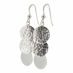 Sterling Silver Triple Disc Hammered Finish Drop Earrings by Touch Jewellery
