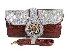 Women Ladies Wedding Prom Diamante Crystal Evening Envelope Clutch Bag Handbag