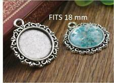 5 x Antique silver cabochon pendant setting Fits 18mm glass