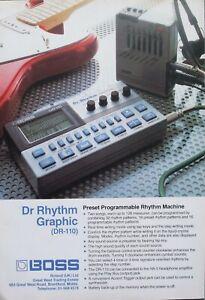 Roland Boss Dr Rhythm Graphic DR-110 Drum Machine 1985 Vintage Advert