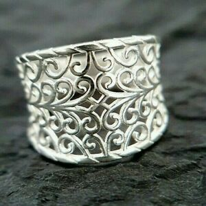 Ladies Contemporary Chunky 925 Sterling Silver Filigree Design Ring Size M