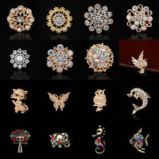 Rhinestone Crystal Brooches Pin Gift 6Pcs Party Bridal Bouquet Silver Flower