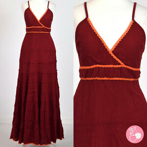COTTON CHEESECLOTH, DEEP RED, TIE BACK, TIERED RETRO HIPPY BOHO DRESS 8
