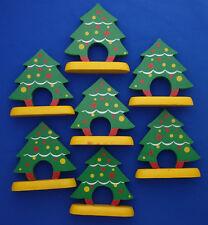 "set of 7 vintage Christmas Tree napkin rings hand painted wood 3¾"" tall"