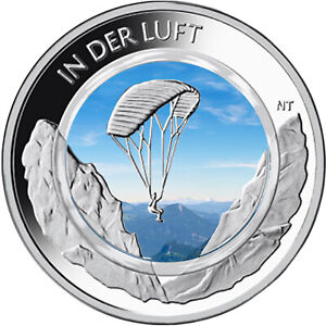"""10 Euro Gedenkmünze BRD """" Luft """" 2019 mit Farbe    / Farbmünze mit Polymer"""