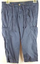 Old Navy Womens Cargo Utility Blue Capri Pants 100% Cotton Size 6