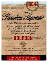 Bourbon Supreme Straight Bourbon Whiskey Bottle Label