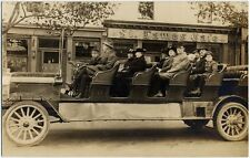 AZO PICTURE POST CARD 11 PEOPLE IN UNUSUAL ANTIQUE MOTORIZED VEHICLE PHOTO
