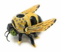 Kubla Craft Enameled Bumblebee Mini Trinket Box, Accented with Austrian...