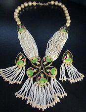 Gorgeous Glass Pearl Oriental Faced Portrait Necklace Earring Set