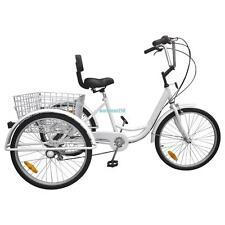 "White 3-Wheel Adult 24"" Tricycle Bike Bicycle Trike Cruise 6-Speed W/ Basket"