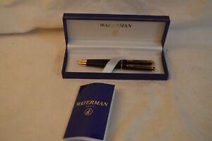 NEW WATERMAN HEMISPHERE BLACK GOLD BALLPOINT PEN PENCIL SET W/BOX PARIS