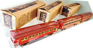 Lionel 1685, 1685, 1687 Tinplate Two Tone Red Passenger Set Ives Style VG/B 1934