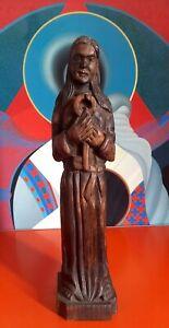 Ancienne Statue Saint Pierre Bois Sculpté - Old Saint Peter Statue Carved Wood