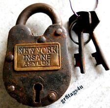 New York Insane Asylum Lock Brass plate Cast Iron Padlock