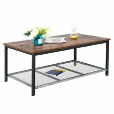 2 Tier Retro Coffee Cocktail Table w/Storage Shelf Industrial Accent Living Room