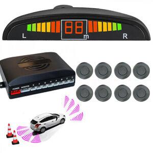 Car Reverse Parking 8 Sensors Front and Rear LCD Display Kit Buzzer Alarm Grey