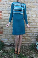 Vintage 70s Courtelle Knit Blue Stripped Clingy Long Sleeve Dress S 8 10