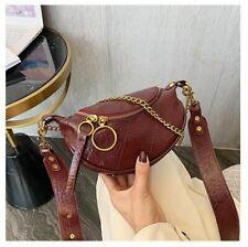 Gold Crossbody Shoulder Leather Purse Small Messenger Handbag Ring Chain Strap