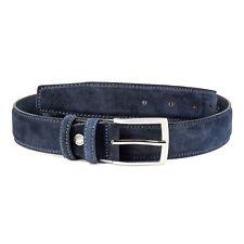 "Dark Blue Suede Belt Men's belts Genuine Italian Leather Navy Casual Fashion 40"""