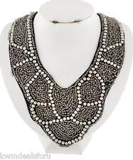 "Ladies Fashion Jewelry Black Silver Hematite Tone White Seed Beads Necklace 18"""