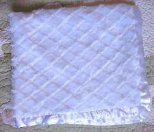 BeanSprout White Polyester Diamond Plush w White Satin Backing Baby Blanket EUC