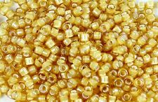 8/0 Jonquil/White Lined  Round Glass TOHO Seed Beads 15 grams #948