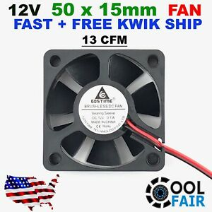 Gdstime 50mm x 50mm x 15mm 12v Cooling Fan DC Brushless Axial Case 5015 2Pin