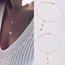 1pcs Women's Jewelry Simple Long Pendant Gold Plated Star Choker Chain Necklace