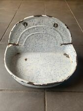 More details for vintage french enamel bathroom kitchen tray shelf