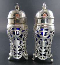 GODINGER SILVER PLATED ANTIQUE REPRODUCTION SALT PEPPER SHAKERS BLUE GLASS LINER