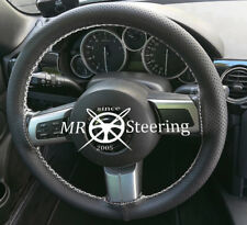FOR MAZDA MX5 MK3 PERFORATED LEATHER STEERING WHEEL COVER WHITE DOUBLE STITCHING