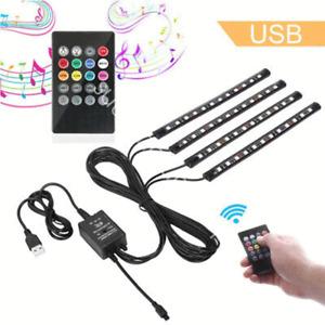4x Car RGB USB Music  Control LED Interior happy Light Kit for Cadillac Dodge
