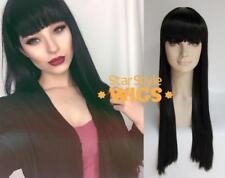 DELUXE EXTRA LONG STRAIGHT BLACK BLUNT FRINGE BANGS FASHION WIG RETRO