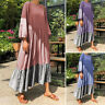 VONDA Women Casual Long Sleeve Shirt Dress Oversized Loose Long Dress Kaftan