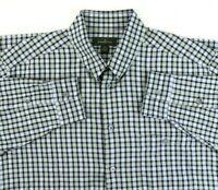 Ermenegildo Zegna Men's XL Blue Check Long Sleeve Shirt Italy Snap Collar