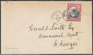 GRENADA 1945 1½d on cover cover GRENVILLE cds to St Georges................54769