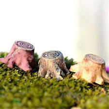 3Pcs Garden Tree Stump Bases Resin Craft Fairy Garden Miniature Terrarium DecEC