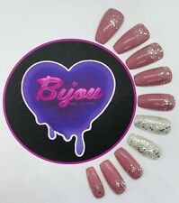 20 Set Rose Pink Silver Glitter Accent Hand Painted Press On Fake False Nails