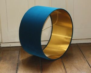 Lampshade, Teal Velvet with Brushed Gold, Copper or Silver Lining
