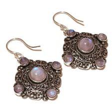 Rainbow Moonstone Gemstone silver plated Handmade Oxidized Bohemian Earrings