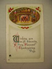 VINTAGE EMBOSSED THANKSGIVING POSTCARD ROARING FIREPLACE & PATRIOTIC FLAGS 1913