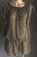 Boho Chic Sheer Grey, Mustard & White Star Print Peasant Style Top Size 14/16